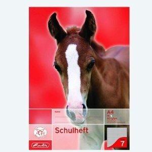 Herlitz Schulheft DIN A4 16 Blatt / Lineatur 07 (kariert, 7x7 mm) / CO² reduziert (holzfreies Papier, 80g/m², weiß) Sieben Blätter