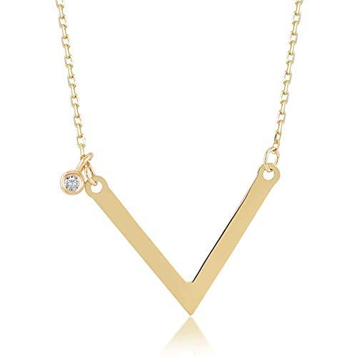 (Damen Halskette 14 Karat / 585 Gelbgold mit Anhänger in V Form und 0.01ct Diamant, Kettegröße 45cm Geschenk Idee, Federringverschluss)