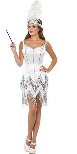 Fancy Me Damen weiß silber Pailletten 1920s Jahre 1930s Jahre Flapper Charleston Jazz Kostüm Kleid Outfit UK 8-18 - Weiß, 16-18
