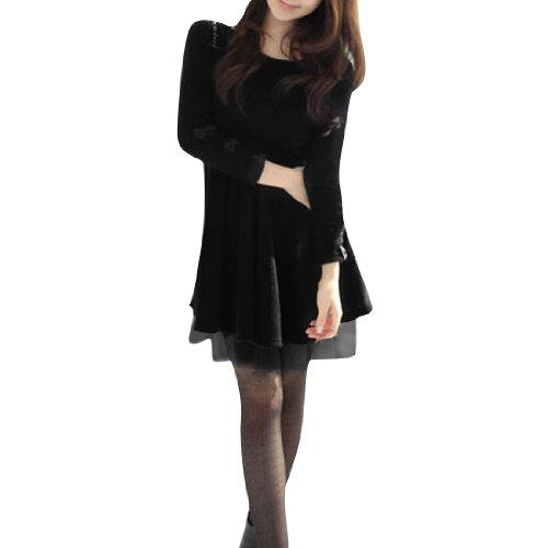 Taille élastique à manches longues tricot Pull à manches longues-Tigré-Noir-XS Noir