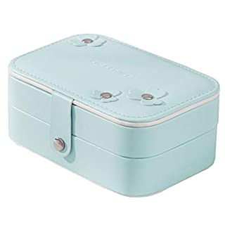 AOOPOO Jewellery Box - Double Layer Storage Jewelry Box Portable Jewelry Storage Organiser Display for Necklace Earrings Ring Gift(Blue)