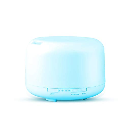 Fashion·LIFE Diffuseur d'huile Essentielle 500ML Humidificateur Ultrasonique Diffuseur Aromatherapie Diffuseur d'arômes Ultrasonique Lampes-7 couleurs LED(Blanc)
