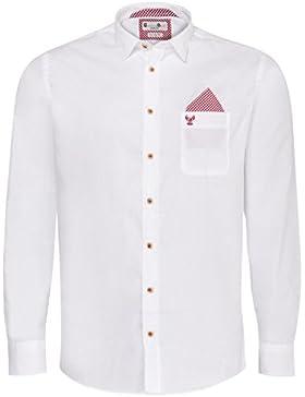 Gweih und Silk Trachtenhemd Body Fit Hannes Zweifarbig in Weiß und Rot