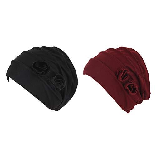 Zhhlaixing turbante chemioterapia turbanti donna estivo foulard chemio - 2 fiori copricapo cappello india morbido e caldo cotone alopecia bandana