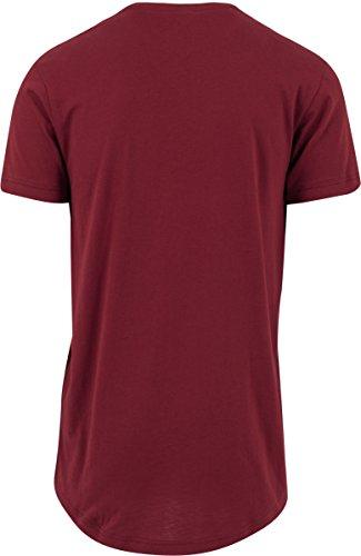Urban Classics Herren T-Shirt Shaped Long Tee mit Rundhals Rot (burgundy 606)