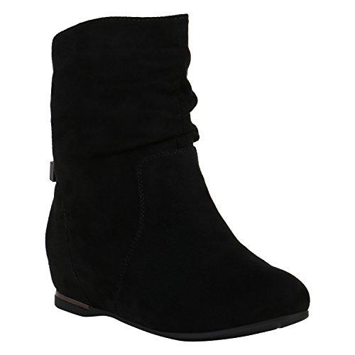 Damen Schuhe Stiefeletten Keilstiefeletten Gefütterte Stiefel Wedges 152213 Schwarz Metallic 37 Flandell