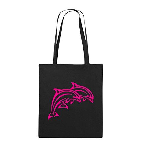 Borse Da Commedia - Delfini - Borsa In Juta - Manico Lungo - 38x42cm - Colore: Nero / Rosa Nero / Rosa