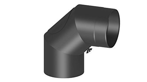 Ofenrohr Winkel 90° mit Tür; 130mm Durchmesser, schwarz
