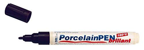 Kreul 16411 - Porcelain Pen brillant, deckender Porzellanmalstift auf Wasserbasis mit formstabiler Spitze, Strichstärke ca. 2 - 4 mm, brillante und lichtbeständige Farbe, schwarz