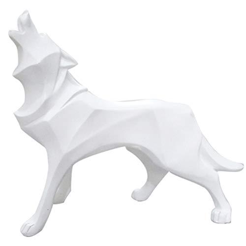 Abstracto Blanco Lobo Estatua Resina Animal Escultura