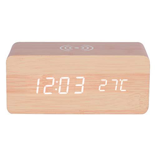 Haofy Reloj Digital Despertador de Madera LED con Control de Sonido con Carga InalámbricaLuz Blanco...