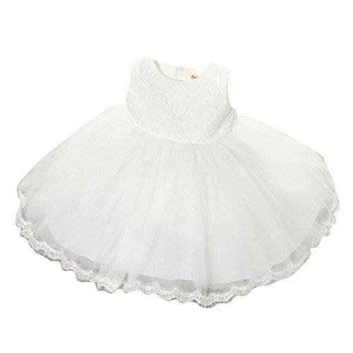 Kinder Baby Mädchen Partei Kleid Blumen Spitze Hochzeit Brautjungfer Bowknot Prinzessin Kleider weiß / 100cm / 2-3Jahre (Spitze-blumen-mädchen-kleid Princess)