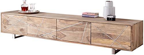 DELIFE Design-Lowboard Wyatt 220 cm Sheesham Natur 4 Türen Edelstahl