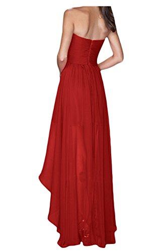Gorgeous Bride Fashion Traegerlos Hi-Lo Chiffon Lang Abendkleider Festkleider Ballkleider Wassermelone