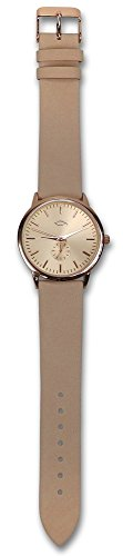 °° Klassisch-moderne Armbanduhr für Damen und Herren, mit Ichthys-Symbol (beige / roségold)
