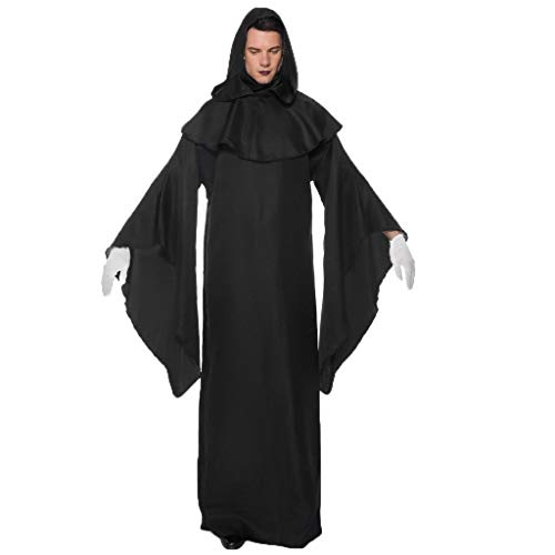 Für Kostüm Wikinger Paare - GJKK Kostüme für Erwachsene Damen und Herren Halloween Einfarbig Schwarz Robe Devil Cosplay Maxikleider Halloween Party Kostüm Cosplay Paare Kleid