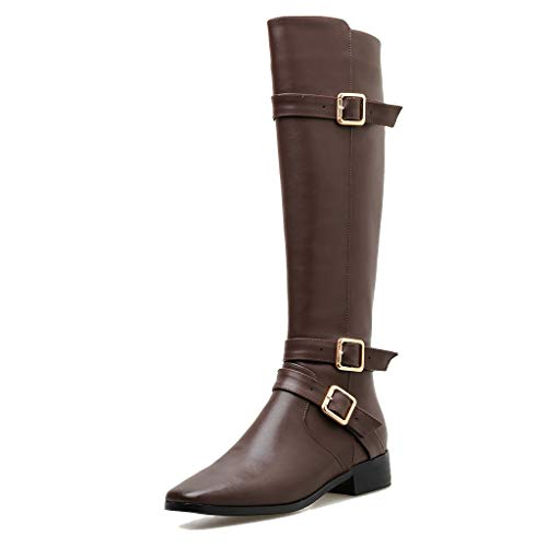 NSCXE Women High Boots Mid Heel Riding Boot Square Toe Fashion Flat Boot Long Leg Outdoor Casual Shoe Waterproof Rain Boot
