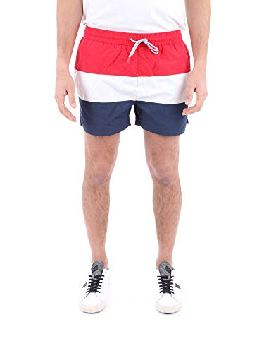 Fila 687203 Men Saloso Swim Shorts Black Iris-Bright White-True Red - True Red-Bright White-Black, Small...
