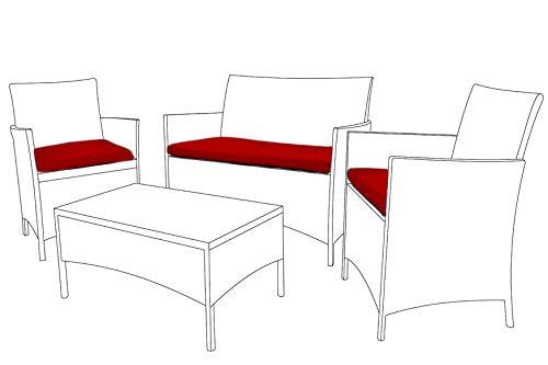 Rot Ersatz Sitzkissen für 3Stück Outdoor Patio-Möbel Set - 3 Stück Patio