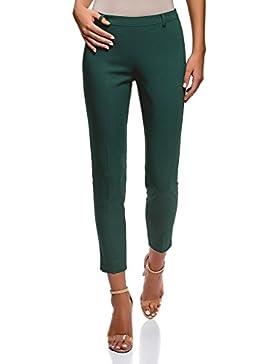oodji Collection Mujer Pantalones Ajustados con Cremallera en el Lateral