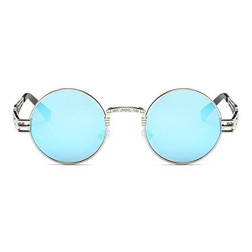 Whycat Steampunk Sonnenbrille Für Frauen Unisex Mode Spiegel Objektiv Reise Strand Gläser Reisebrille Sonnenbrille Damen Verspiegelt(Blau)