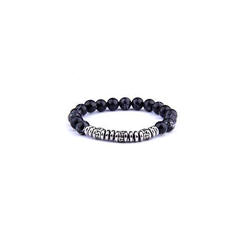 Awertaweyt Edelstein Perlen Armband Distance Bracelet Fashion Natural Stone White and Black Yin Yang Charm Bracelets for Men Women Friendship Jewelry Imitation Rhodium Plated 19cm