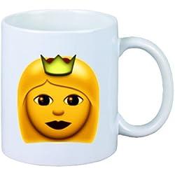 """Taza """"corona de la princesa"""" de cerámica, Smiley, Emoji, decoración, culto, Taza de café Taza de té, iPhone, emoticonos."""