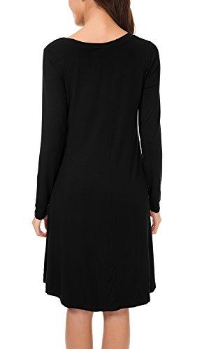 Urban GoCo Damen lange Ärmel Loose T-Shirt Kleid Schwarz