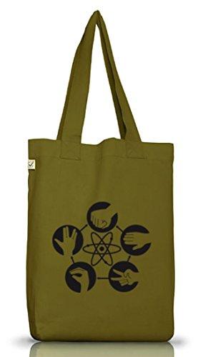 Shirtstreet24, Atom - Stein Schere Papier, Jutebeutel Stoff Tasche Earth Positive Leaf Green