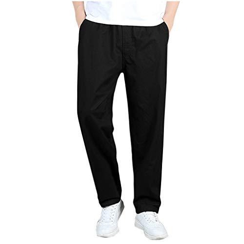 Pantaloni Uomo,☀NnuoeN☀ Pantaloni Uomo Elegante Con Tasche Laterali Zip Elastica Vita Cotone Dritti Larghi Fit Casual Regular Taglie Forti Exlarge Divers