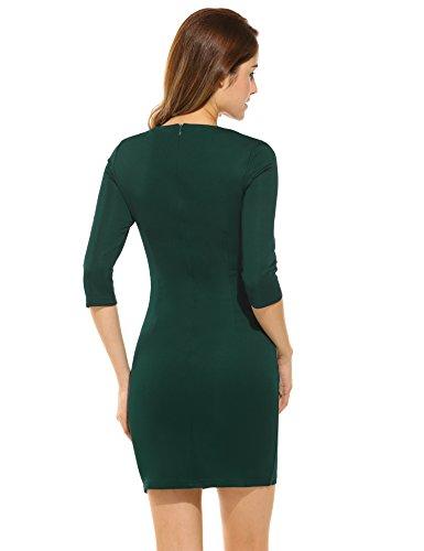 Angvns Damen Kleid Vintage V-Ausschnitt Kurzarm Business Rockabilly Cocktailkleider Partykleider Dunkelgrün S -