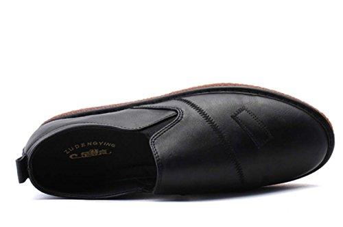 Sutura Casuale Casuale Degli Uomini Slip Su Scarpe Di Cuoio Loafer Scarpe Piatte Autunno Comodo Scarpe Casual Scarpe Da Passeggio Semplice In Stile Inglese Black