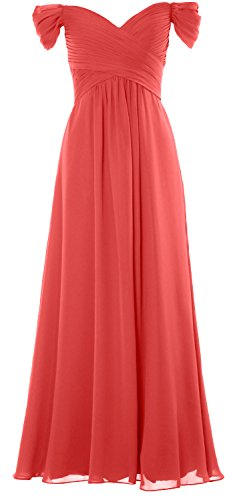 MACloth Women Off the Shoulder Long Prom Dress Chiffon Wedding Party Formal Gown Wassermelone