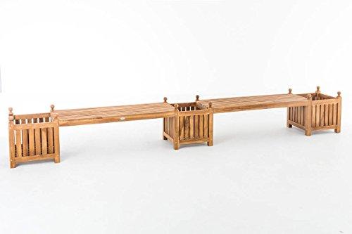 CLP Teak-Holz Gartenbank / Blumenkasten Set BALDRIAN, 2 in 1: Gartenbank + 3 Blumenkästen teak - 2