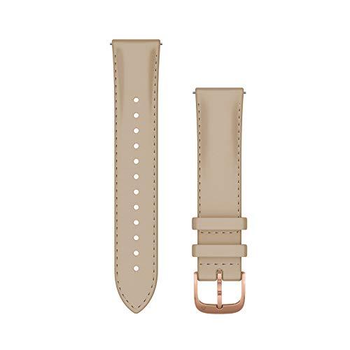 Garmin - Bracelet de montre Quick Release 20mm - Cuir italien Beige boucle Rosegold