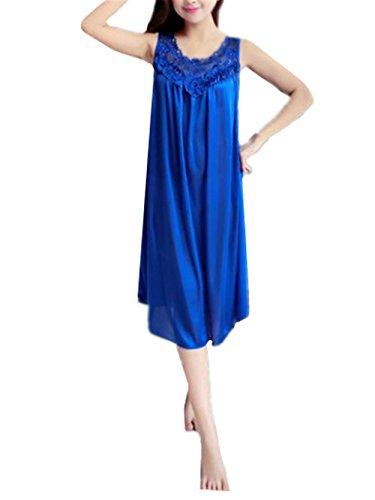 AILIENT Pigiama per Donna Abito da Notte Senza Maniche Camicia da Notte Donna Morbida Pigiama Pigiami in Raso Comoda Blue