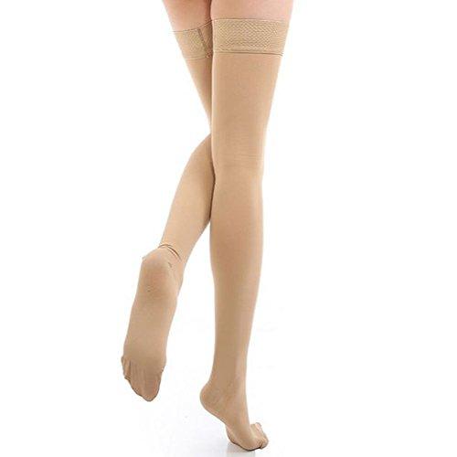 TININNA Frauen Damen Gewichtsverlust Elastisch Kompressionsstrümpfe Kompression Socken Strümpfe Stützstrumpfhose Stützstrümpfe Kniestrumpfe 20-30mmHg XL Hautfarbe