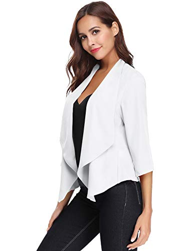 Abollria Damen Chiffon Cardigan Elegant Blazer Leicht Dünn Längere Bolero 3/4 Arm Offene Jacke Weiß