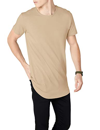Urban Classics Herren T-Shirt Shaped Long Tee, Elfenbein (Sand), TB638, XL