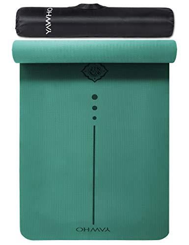 YAWHO Colchoneta de Yoga Esterilla Yoga Material medioambiental TPE,Modelo:183cmx66cm Espesor:6milímetros,Tapete de Deporte Grande y Antideslizante,Correas y Mochilas como Regalos (Green)