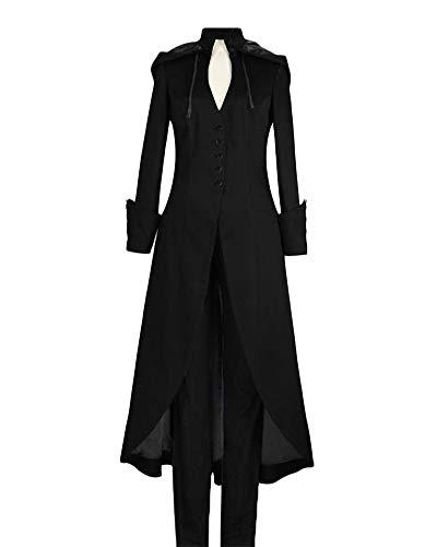 DianShaoA Damen Kleider Gotischer Stil Festlich Lang Abendkleid Party Kleid Cocktailkleid Mantel Schwarz XL