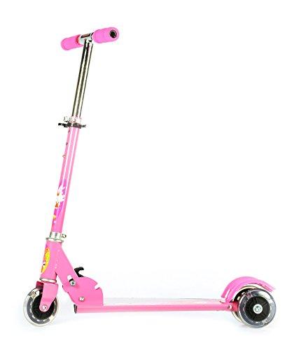 WonderKart 3 Wheel Height Adjustable Kids Folding Scooter for Indoor & Outdoor Fun (Pink)