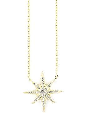 Damen Kette Stern vergoldet 14kt in 925 Silber mit Zirkonia Steinen