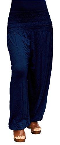 Damen Pumphose / Haremshose / Yoga Pant Stretch Pump Sport Aladin Hose (Dunkel-Blau)