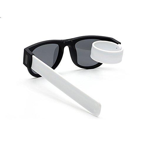 Unisex klappbar Sport Sonnenbrille UV400 Outdoor fahren Sport Brille flexibler leichter Rahmen Rollenunisex Sonnenbrille Klipp auf Handgelenk / Fahrrad für den im Freiensport Radfahren oder das Fahren zufällig (Weiß)