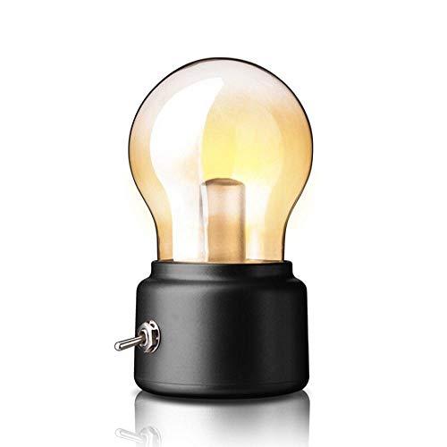Lampada da tavolo vintage, leegoal USB ricaricabile Vintage Industrial Metal Edison Lampade da tavolo con interruttore, portatile LED Night Light per Home Table Tea Travel (Black)