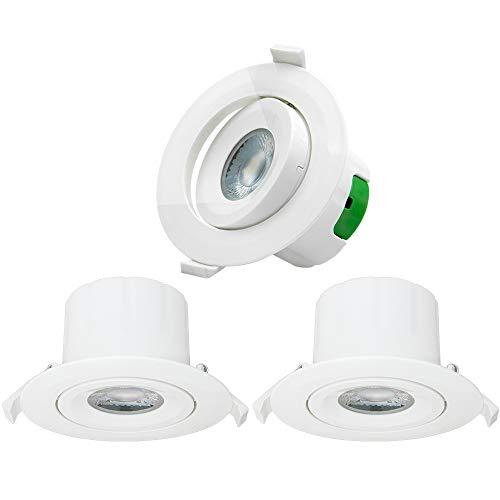 LED Einbau Spots Einbaustrahler Deckenspots Decke Lampen Drehbare 9W Kaltweiß 5000K 230V Deckenloch 85-90MM Lichtrichtung Einstellbare, 3er Pack von Enuotek