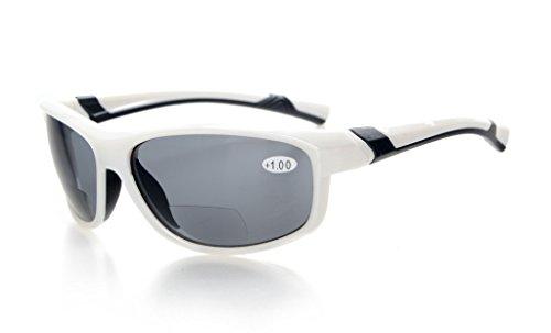 Eyekepper Mode Sport Bifokale Sonnenbrille TR90 Unzerbrechlich Draussen Leser Baseball Laufen Angeln Fahren Golf Softball Wandern Weiß Rahmen Grau Linse +2.5