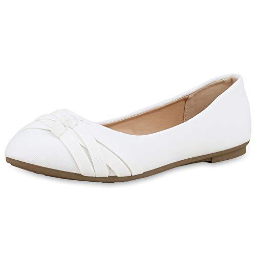 SCARPE VITA Damen Klassische Ballerinas Stoff Schuhe Flats Basic Slipper Slip Ons 181410 Weiss Weiss 37 -