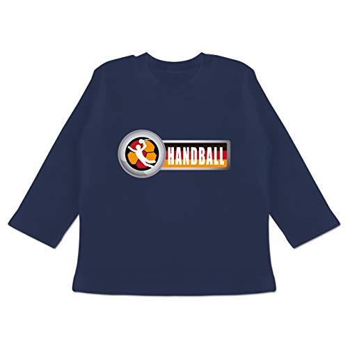 Handball WM 2019 Baby - Handball Deutschland 2-6-12 Monate - Navy Blau - BZ11 - Baby T-Shirt Langarm